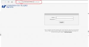 Strona identyczna zestroną webmaila Roundcube Uniwersytetu Śląskiego wwersji angielskojęzycznej. Adres strony wprzegladarce zaznaczony naczerwono.